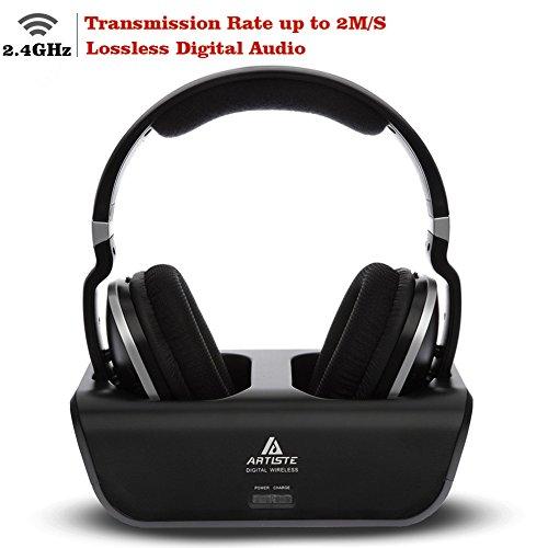 Wireless TV Headphones, Artiste 2.4GHz Digital Over-Ear Stereo Headphone for TV 100ft Distance Transmitter Charging Dock Rechargeable (Black)
