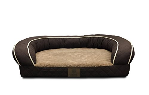 AKC Sweet Dreams Large 35x27x8'' Quilted Orthopedic Pet Sofa Couch Bed with Bolster Sides, Machine Washable, Ideal For Larger Breeds