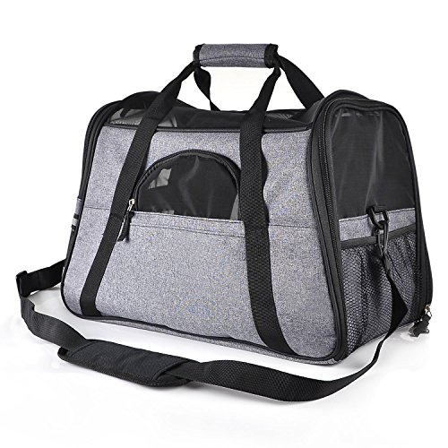 Creaker Pet Travel Carrier, Soft Sided Pet Travel Bag with Fleece Pet Mat for Small Dogs Cats Puppies up to 13Ib,Airline-Approved, Perfect for Airplane, Train, and Car Travel