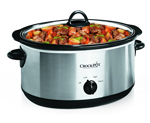 Crock-Pot Stainless Steel 7-Quart Oval Manual Slow Cooker, 7 Quart