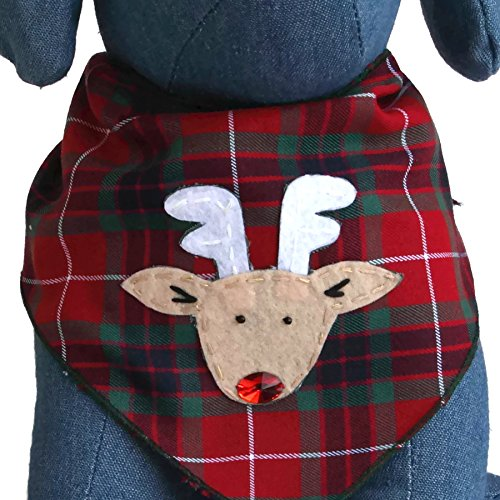 Tail Trends Christmas Dog Bandanas Rudolph Designer Appliques 100% Cotton (M)