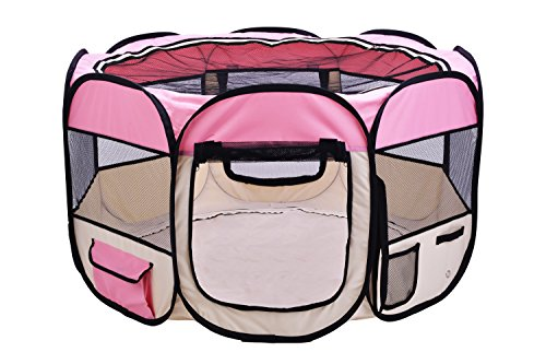 Pink Puppy Playpen Dog Exercise Kennel Cats Pet