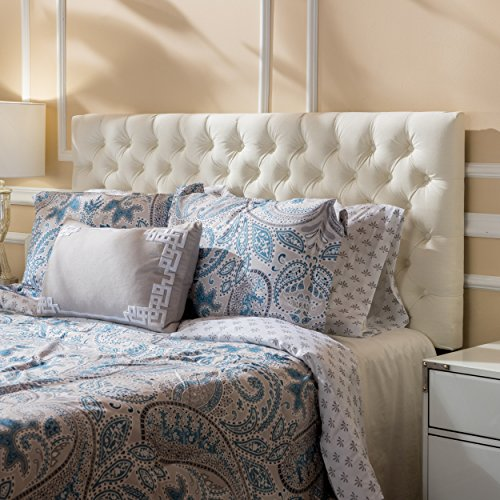 Christopher Knight Home Jezebel Fabric Queen/Full Headboard, Ivory