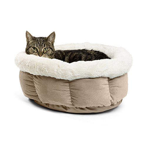 Best Friends by Sheri Small Cuddle Cup - Cozy, Comfortable Cat and Dog House Bed - High-Walls for Improved Sleep, Wheat