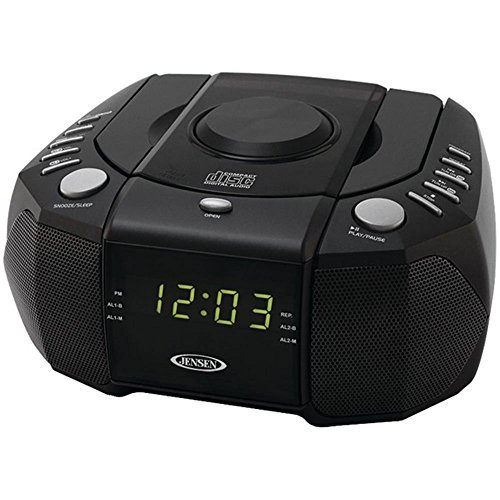 Jensen JCR-310 CD Player Dual Alarm Clock Radio AM/FM Black Consumer electronics