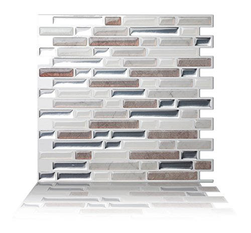 Tic Tac Tiles Anti-mold Peel and Stick Wall Tile in Como Pebble (10 Tiles)