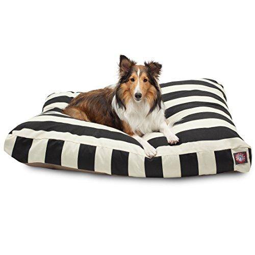 Black Vertical Stripe Large Rectangle Pet Bed