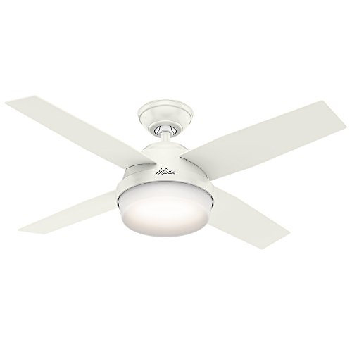 """Hunter Contemporary Dempsey Fresh White Ceiling Fan With Light & Remote, 44"""""""