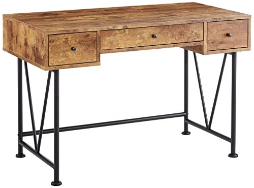 Coaster Home Furnishings Analiese Modern Rustic Industrial Three Drawer Writing Desk