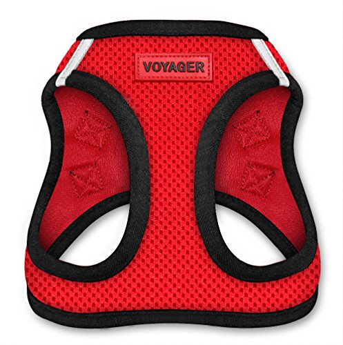 Voyager All Weather No Pull Step-in Mesh Dog Harness with Padded Vest, Best Pet Supplies, Small, Red Base