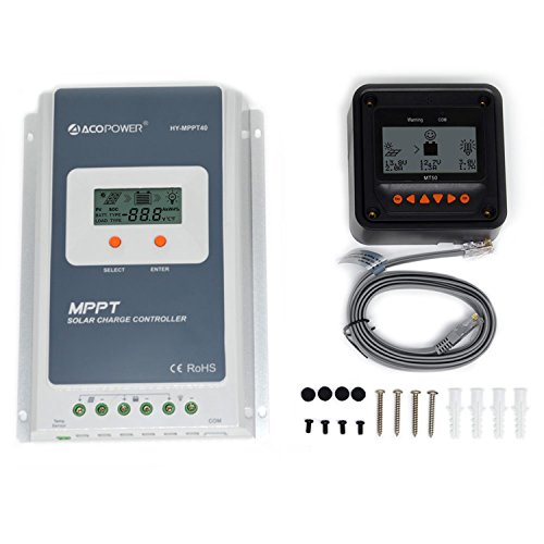 ACOPOWER 40A MPPT Solar Charge Controller HY-MPPT40A+ Remote Meter MT-50 Solar Charge With LCD Display for Solar Battery Charging