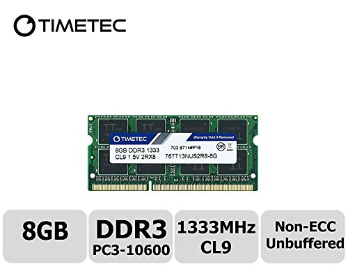 Timetec Hynix IC 8GB DDR3 1333MHz PC3-10600 Non ECC Unbuffered 1.5V CL9 2Rx8 Dual Rank 204 Pin SODIMM Laptop Notebook Computer Memory Ram Module Upgrade(8GB)