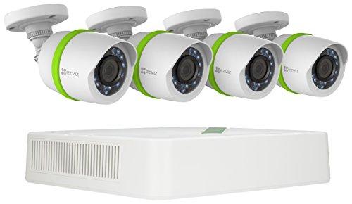 EZVIZ TRIPLE HD 3MP Outdoor Surveillance System, 4 Weatherproof HD Security Cameras, 4 Channel 1TB DVR Storage, 100ft Night Vision, Customizable Motion Detection