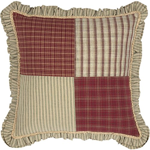 """VHC Brands Classic Country Farmhouse Pillows & Throws-Prairie Winds Red Patchwork 18"""" x 18"""""""