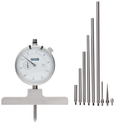 "Fowler Full Warranty Steel X-Series Depth Gauge with Satin Chrome Finish, 52-125-006-1, 0-22"" Measuring Range, 0.001"" Resolution"