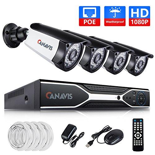 PoE Security Camera System, CANAVIS 4 2MP (1920 x 1080p) IP Outdoor Surveillance Camera, 4CH HDMI 1080P NVR, No Hard Drive