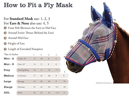 Kensington KPP Fly Mask with Nose Cover and Ears, Blue Ice Plaid, Medium