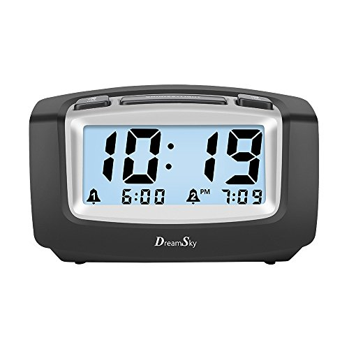 DreamSky Dual Alarm Clock With Smart Adjustable Nightlight, Snooze, Large LCD Display, Portable Battery Operated, Ascending Alarms Sound, Simple Operate Clock For Bedroom Kids