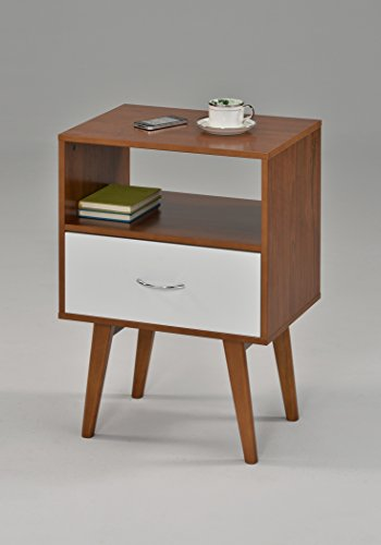 eHomeProducts Side End Table/Nightstand with Drawer/Shelf, White/Dark Oak