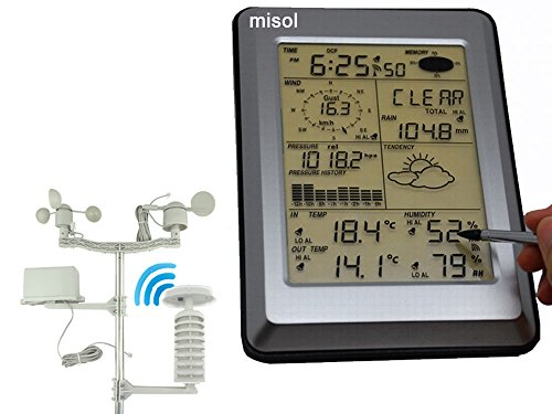 MISOL Professional Wireless Weather Station Touch Panel w/ Solar sensor, w/ PC interface