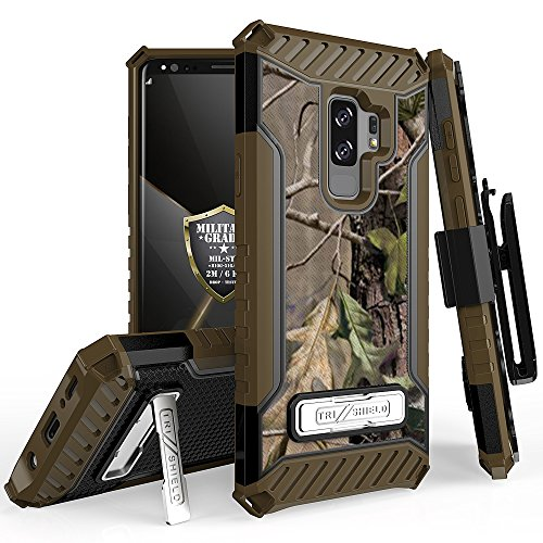 Galaxy S9 Plus Case, Trishield Durable Rugged Heavy Duty Phone Cover [ Belt Clip Holster] And Built in kickstand For Samsung Galaxy S9 Plus - Printed Hunter Tree Outdoors Camo