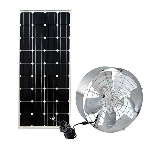 FISTERS Solar Power Attic Gable Fan - 100 Watts Monocrystalline Solar Panel Module - 65 Watts Ventilator Fan