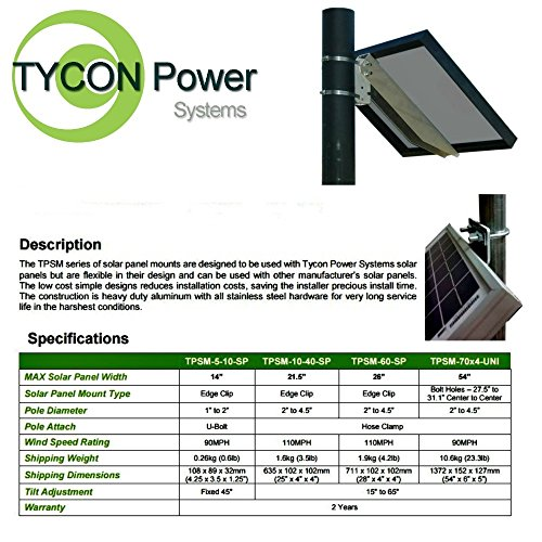 Tycon Power Side of Pole Mount for 60W and 85W Solar Panel