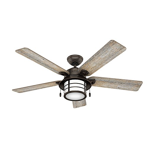 """Hunter Key Biscayne 54"""" Ceiling Fan with Light, Large, Onyx Bengal"""