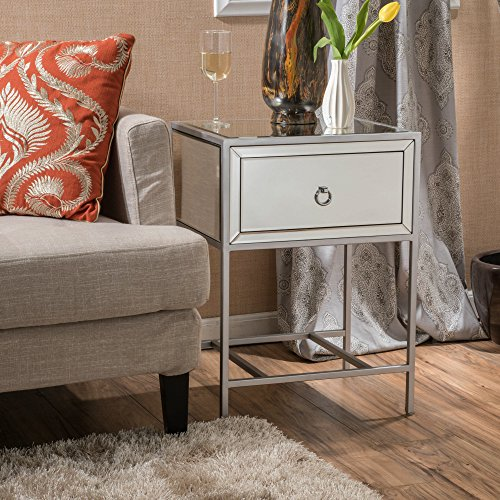 Christopher Knight Home Inka Mirrored Silver 1 Drawer Side Table, Clear + Silver/Mirror