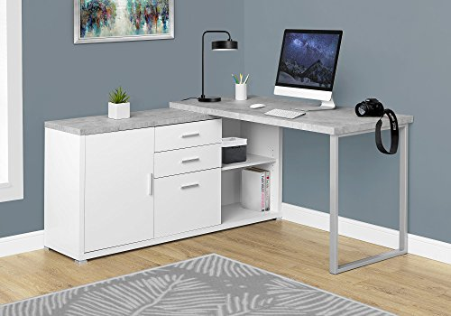 Monarch Specialties Computer Desk 60 L White Cement Look Left Right