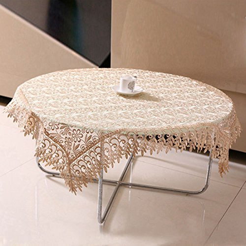 Qianle Luxury Embroidery Lace Tablecloth Table Cover Linens Coffee 33.433.4 Inch