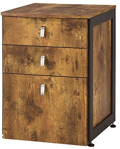 Coaster Estrella Industrial Antique Nutmeg File Cabinet with 3 Drawers