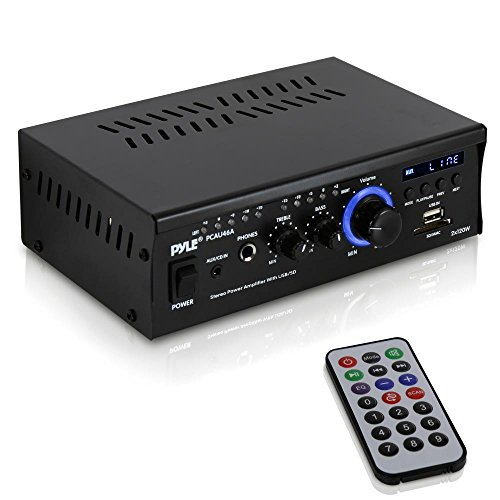 Home Audio Power Amplifier System - 2x120W Dual Channel Theater Power Stereo Receiver Box, Surround Sound w/USB, RCA, AUX, LED, Remote, 12V Adapter - For Speaker, iPhone - Pyle PCAU46A