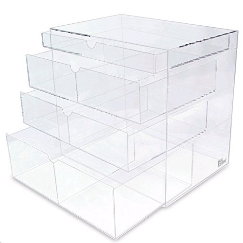 Ikee Design Premium Acrylic Clear Cosmetics Acrylic Makeup Drawer Organizer Tray Office Supplies Holder with 4 Removable Drawers