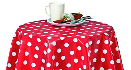 lovemyfabric Poly Cotton Polka Dots/Spots 58 Inch Round Tablecloth for Birthdays,Bridal Shower/Baby Shower, Theme Party Events (White dots on Red)