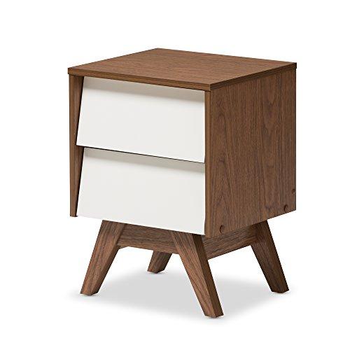 """Baxton Studio Herve Mid-Century Modern White & Walnut Wood 2-Drawer Storage Nightstand, White/""""Walnut"""" Brown"""