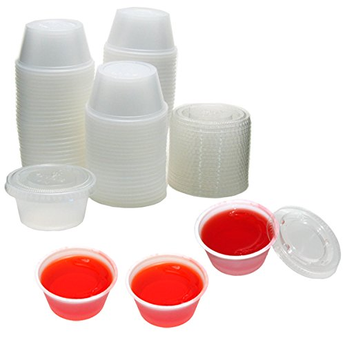 Polar Ice 125 Count Plastic Jello Shot Cups with Lids, 2-Ounce