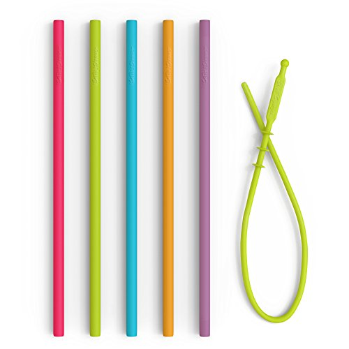 """8.25"""" Slim Reusable Silicone Straws + Cleaner - Non-Rubber, BPA Free Slim Silicon Drinking Replacement Straws for 20 oz Yeti Tumblers - Chewy, Bendy, Flexible Safe Straws for Kids/Toddlers"""