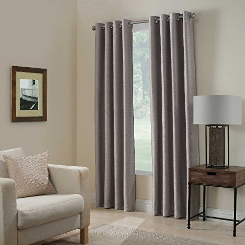 "Gorgeous Home *DIFFERENT SOLID COLORS & SIZES* (#72) 1 PANEL SOLID THERMAL FOAM LINED BLACKOUT HEAVY THICK WINDOW CURTAIN DRAPES BRONZE GROMMETS (SILVER GRAY, 84"" LENGTH)"