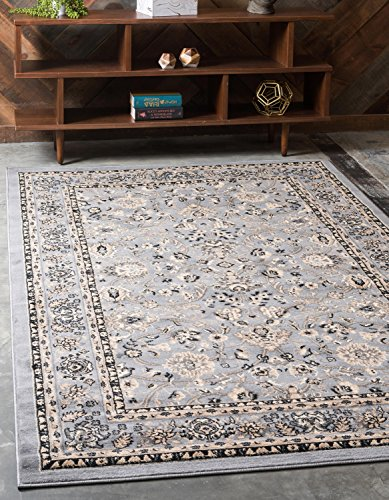 Unique Loom Kashan Collection Traditional Floral Gray Home Décor Area Rug (6' x 9')