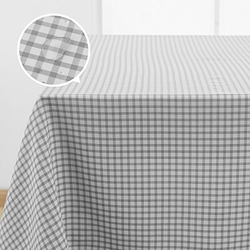 Deconovo Decorative Checkered Pattern Rectangular Tablecloth Water Resistant and Spill-proof Plaid Tablecloths for Dining Room 54 x 72 Inch Grey