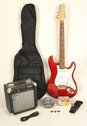 Red Electric Guitar Package w/ Guitar, Amp, Strap and Instructional DVD SX RST CAR w/GA1065