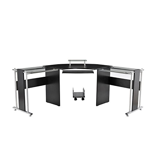 "HOMCOM 69"" Modern L-Shaped Symmetrical Smoked Glasstop Office Computer Desk"