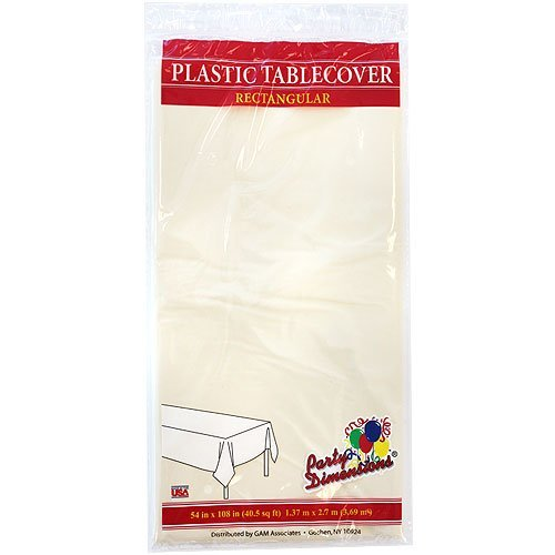 Plastic Party Tablecloths - Disposable, Rectangular Tablecovers - 4 Pack - Ivory - By Party Dimensions