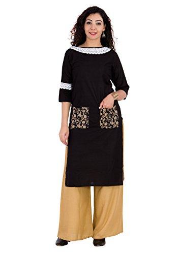 BrightJet Designer Black Cotton Lacework Women Fashion Kurti A-line Kurta Top Tunic with Rayon Solid Beige Plazzo Set Party Dress Casual (L)