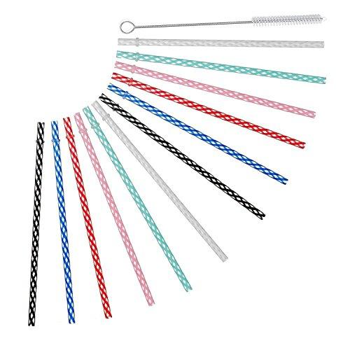 Reusable Plastic Drinking Straws For Yeti, RTIC, Mason Jar, Starbucks, Tervis, OZARK Tumblers, Set of 12 With Cleaning Brush