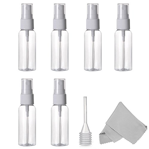 Spray Bottle, Empty Plastic Clear Small Travel Bottles With Fine Mist Sprayer for Cleaning Solutions and Essential Oils, 30 ml (1 oz.) Pack of 6 Plus Cleaning Cloth and Dropper