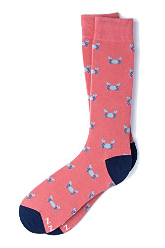 Men's Hipster Nautical Pink Crab Cotton Novelty Contemporary Crew Dress Socks (Salmon Coral)