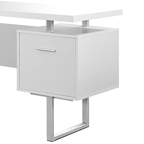 Homehome Garden And Tools Monarch Specialties White Hollow Core Silver Metal Office Desk 60 Inch
