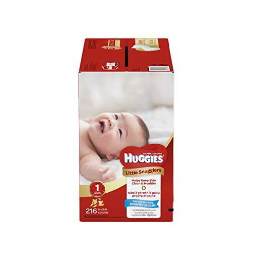 HUGGIES Little Snugglers Baby Diapers, Size 1, for 8-14 lbs, One Month Supply (216 Count), Packaging May Vary